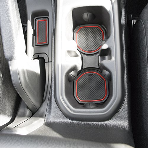 Custom Fit Cup Holder and Radio Pocket Liner Accessories for JL JLU Jeep Wrangler 2018 2019 16-pc set (FITS CLOTH SEAT SPORTS AND RUBICON ONLY!, Red Trim)