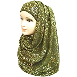 Lina & Lily Gold Glitter Plain Color Hijab Muslim Head Wrap Scarf Shawl (Army Green)