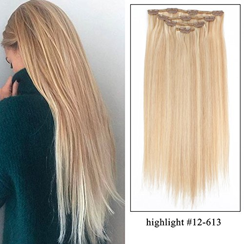 Sassina Clip on Highlights Human Hair Weave Extensions Remy Brazilian Luxy Double Wefts Clip in Hair Piano Color Dirty Blonde Mixed Bleach Blonde 80Grams/Set 4 Pieces With 10 Clips, P#12-613 20 Inch