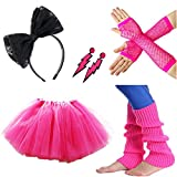 80s Fancy Dress Costume Accessories for Women Neon Earrings Leg Warmers Gloves
