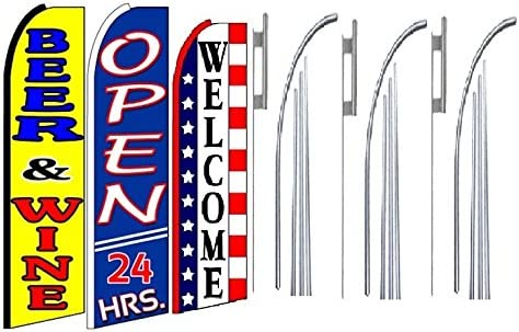 Pack of 3 Beer /& Wine Open 24 hrs Welcome King Swooper Feather Flag Sign Kit with Pole and Ground Spike