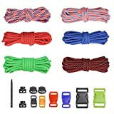 PSKOOK DIY Paracord Kits Make Bracelet Survival Parachute Cord Crafts 550 Tinder Cord Rope Braiding Wrist Bands with Buckles Multi Color