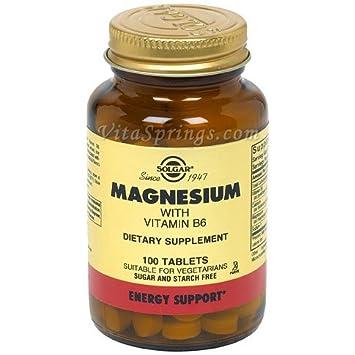Solgar Magnesio con Vitamina B6-100 Tabletas: Amazon.es: Salud y cuidado personal