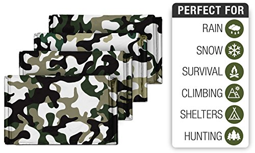 4 Pack Camouflage Emergency Mylar Blankets For Outdoor Camping Shelters Survival