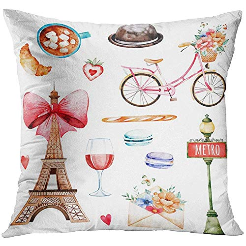 - Throw Pillow Cover Lovely Summer Collection with Eiffel Tower Hat Croissant Coffee Letter Macaroons Baguette Bike Wine Decorative Pillow Case Home Decor Square 18x18 Inches Pillowcase