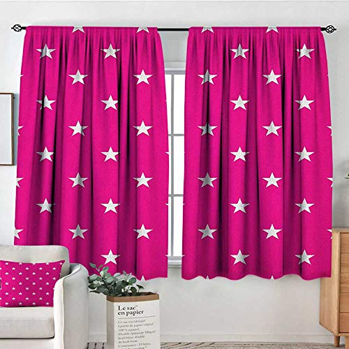 (Theresa Dewey Blackout Curtains Hot Pink,Symmetrical Pattern with White Stars Girlish Pattern Lovely Retro Party Tile, Hot Pink White,Rod Pocket Curtain Panels for Bedroom & Kitchen 52