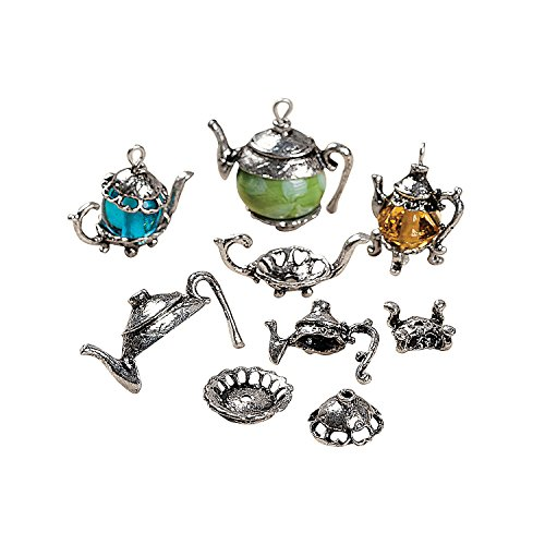 Oriental Metal Bead - Silvertone Metal Teapot Bead Caps
