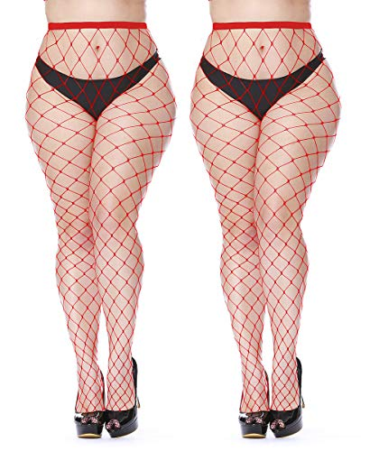 (Womem's Sexy Black Fishnet Tights Plus Size Net Pantyhose Stockings (Red #4, One size))