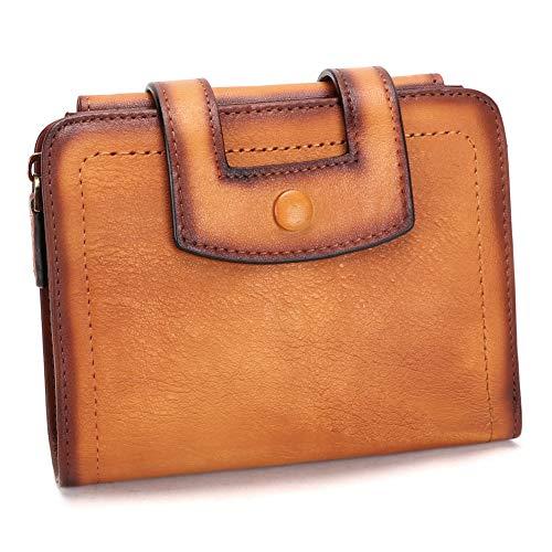 Genuine Leather Short Wallets for Women RFID Blocking Vintage Handmade Soft Purse Small Clutch Money Clip (Brown)
