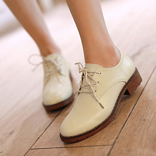 Flat Heel Beige Oxfords Women's Shoes Sneaker Chunky Up Casual Lace BEqwzRg