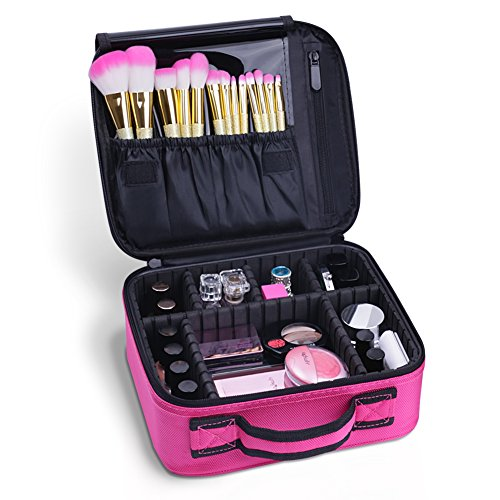Docolor Portable Travel Makeup Train Bag Makeup Cosmetic Case Organizer Storage Bag for Cosmetics Makeup Brushes Toiletry Jewelry Digital accessories (Pink) by Docolor