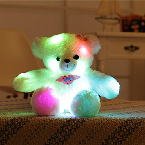 WEWILL Adorable LED Light up Glow Teddy Bear Pet, Teddy Bear Little Stuffed Toys, Stuffed Plush Toy with Colorful Flash LED Light, Stuffed Animal Toy Gifts for Children,15-Inch (Little Bear Plush)