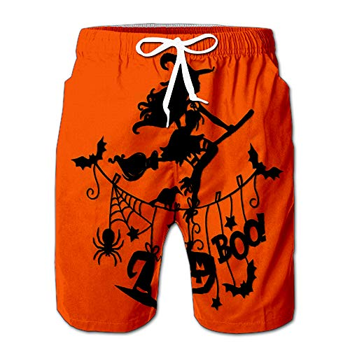 an of Sexy Witch Flying with Broomstick Over Halloween Theme Clothing Line Men Swimwear Volley Pants Pocket XXL