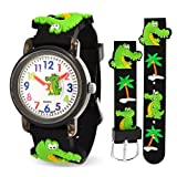 Bling Jewelry Black Alligator Palm Tree Kids Watch Stainless Steel Back