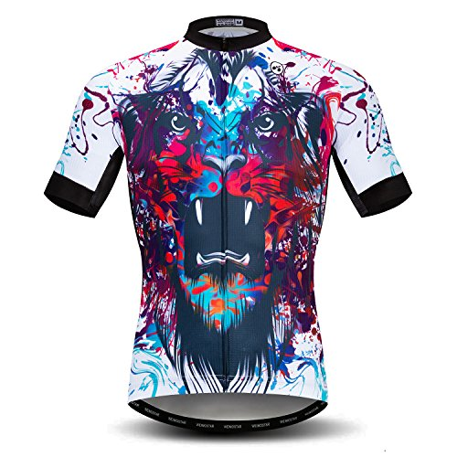 Men's Cycling Jersey Short Sleeve Mountain Bike Shirt Tops MTB Bicycle Clothing 3D Tiger Multicoloured Size XL