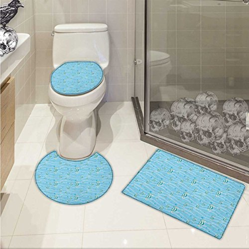 (lacencn Animal Toilet carpet floor mat Cartoon like Seahorses for Kids Nursery Baby Girls Boys Childish Playroom Nautilus 3 Piece Shower Mat set Blue)