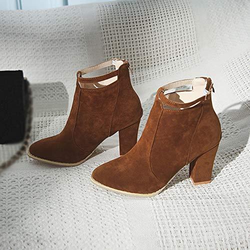 Boots Boucle Bottes Talons Pointu Femmes Et Chaussures À Femme Marron Pour Hauts Bout Weant Moto Bottines Avec wZx7q4