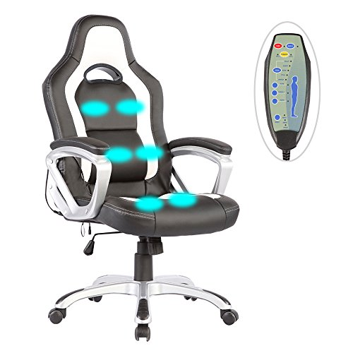 Mecor Massage Office Chair PU Leather Heated Vibrating Race Car Style Ergonomic Armchair (Black&White) Leather Home Massage Chairs