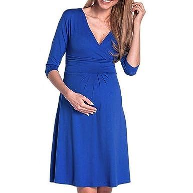 Gusspower Vestido de Maternidad Lactancia de Mujer, Cómodo Vestido de Embarazada DE 3/4 Manga Corta premamá con Cuello en V: Amazon.es: Ropa y accesorios
