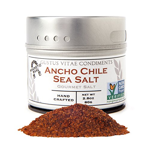 Gustus Vitae Ancho Chile Sea Salt, 2.8 Ounce,Gourmet - Mexican Salt Sea