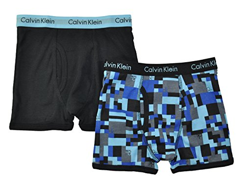 Boys 2 Pack Boxer Brief (Calvin Klein Little/Big Boys' Assorted Boxer Briefs (Pack of 2) (Large / 12-14, Blue Print))