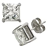 Forever Classic 6.0mm Cushion Moissanite Stud Earrings, 2.20cttw DEW by Charles & Colvard
