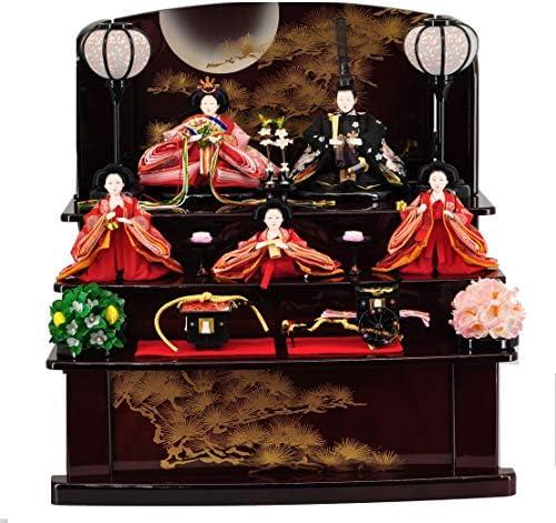 雛人形収納飾り ワイン塗 金彩「月に松」 【W50cm×D40cm×H50cm】