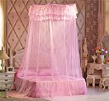 Pink Girl Round Hoop Double Lace Ruffle Princess Polyester Bed Canopy Net