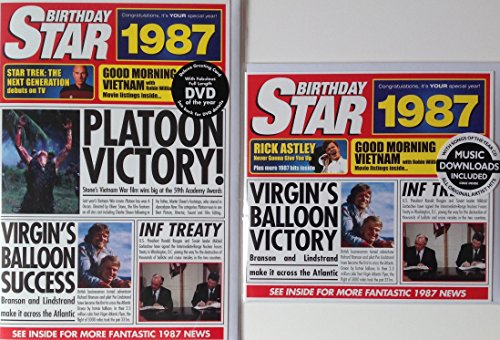 Price comparison product image 1987 BIRTHDAY GIFT SET - 1987 Chart Hits Compilation Music Cd with 20 Original Hit Songs & 1967 Documentary DVD with 56 Minutes of Best News Footage and Two 1987 Year Greeting Star Cards