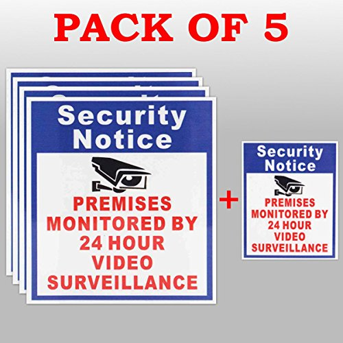 hitsan 5x locales protegidos por 24horas vigilancia de vídeo cartel calcomanía cámara de seguridad una pieza