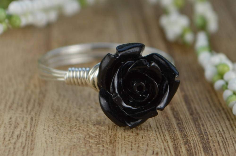 Custom made to size 4-14 Black Rose Flower Bead and Sterling Silver or Gold Filled Wire Wrapped Ring