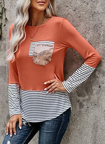 Diukia Women's Fashion Printed Color Block Long Sleeve Tops Patch Pocket Tunic Shirt S-2XL