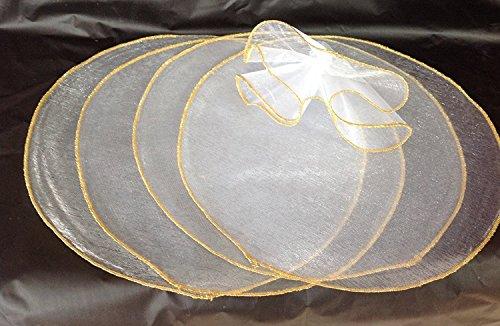 Organza Circles Sheer With Gold Edge 9