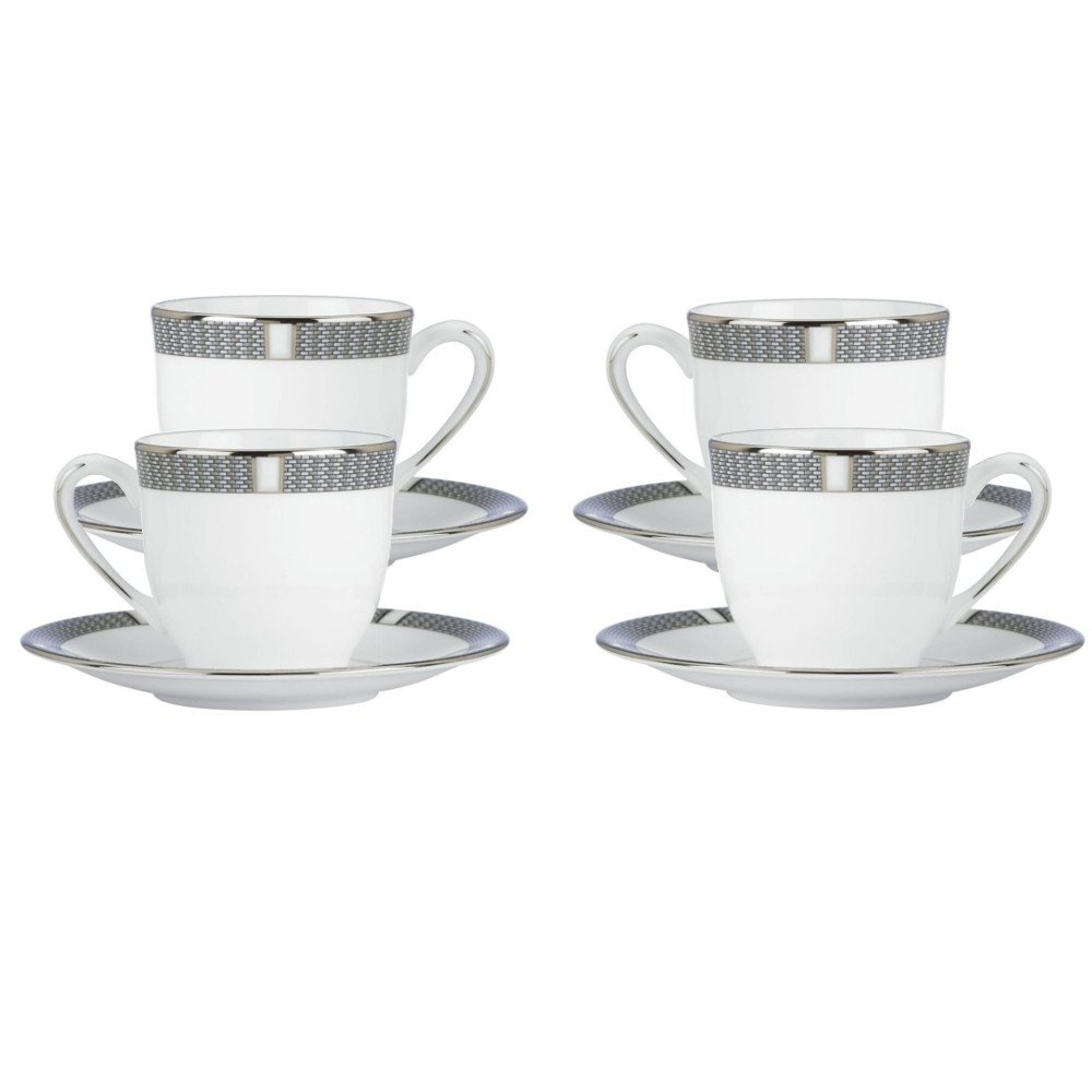 Lenox Silver Sophisticate Demitasse Cup & Saucer, Set of 4 by Lenox (Image #1)