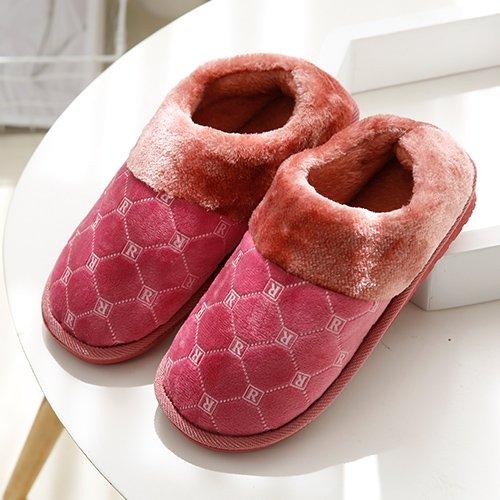 Fankou Autunno e Inverno moda pantofole di cotone femmina maschio spessa soggiorno caldo piano anti-slip piscina ,43-44, rosso chiaro