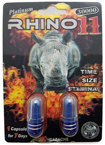 Rhino 11 Platinum 30000   Pouches   Sexual Male Enhancement Supplement   30 Pack