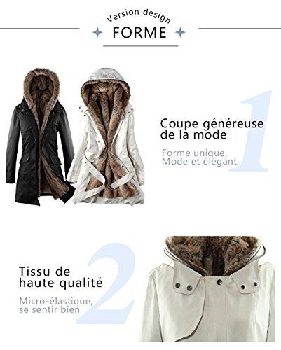 Manteau avec YOSICIL Chaud Rembourr Hiver Fourrure Femme Capuche wTO8v
