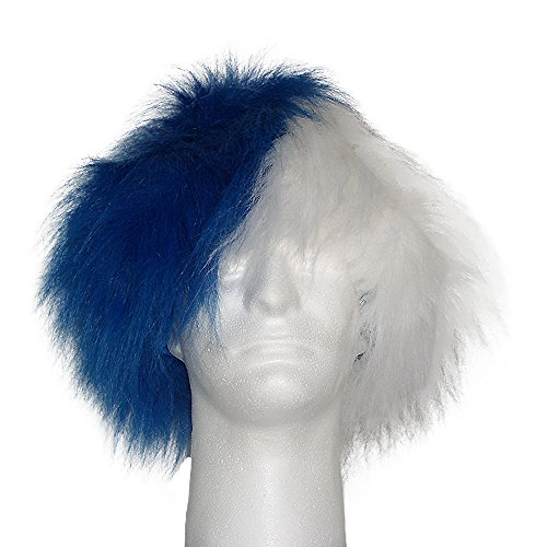 (Sports Novelties Wig, Half Blue and Half White)