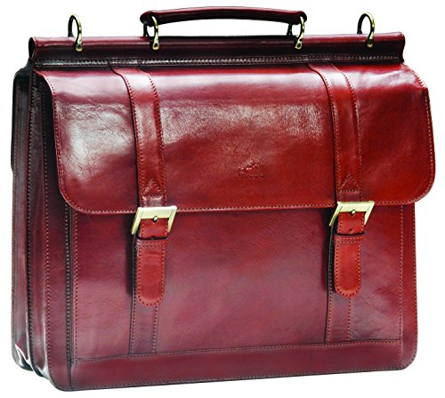 Mancini Leather Goods Luxurious Italian Leather Laptop Briefcase (Brown)