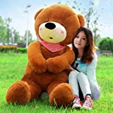 毛绒玩具熊娃娃熊猫公仔抱抱熊女生日礼物送女友可爱睡觉抱女孩萌深棕瞌睡熊 直角量1.2米