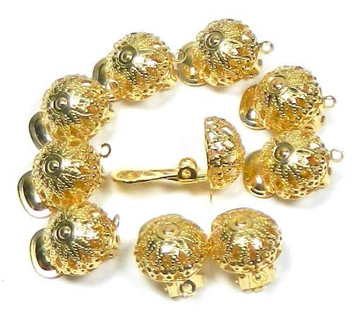 10 Earring, Clip-on, Gold-plated Brass 12mm Filigree Dome with Loop. Sold Per Pkg of 5 Pairs