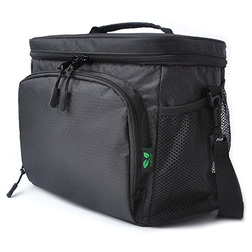 Insulated Lunch Box Bag F40C4TMP Soft Cooler Leakproof With YKK Zipper Removable Shoulder Strap Black 9-can (Soft Cooler Drink)