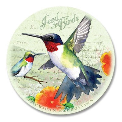 (Vintage Bird Series Absorbent Stone Coaster Set with Wooden