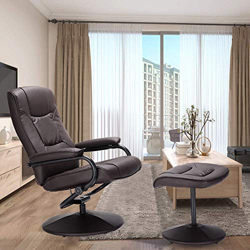 Swivel Recliner Chair, WaterJoy PU Leather Lounge Armchair Recliner, 360 Degree Swivel Overstuffed Padded Seat Chair with Footrest Stool Ottoman Set for Office Living Room Brown (Armchairs Small Sale For Leather)