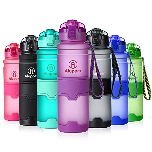Water Bottle- Tritan Bottles for Kids/Adult- Leak Proof, Eco-Friendly Portable Sports Bottles with Filter, Flip Top Lid, Pop Opens with 1-Click - Reusable,BPA-Free (17OZ-500ML, Purple)