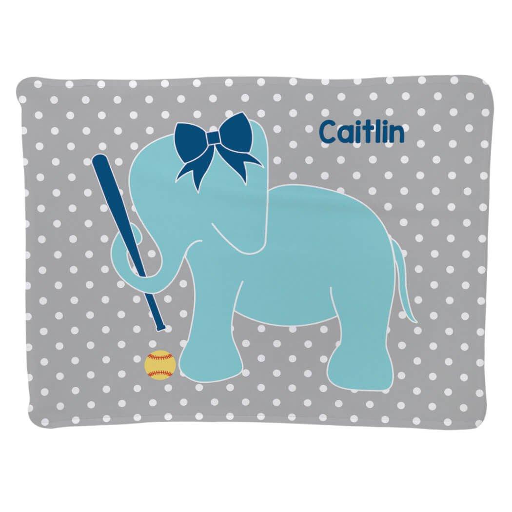 Softball Baby & Infant Blanket | Softball Elephant with Bow | Gray