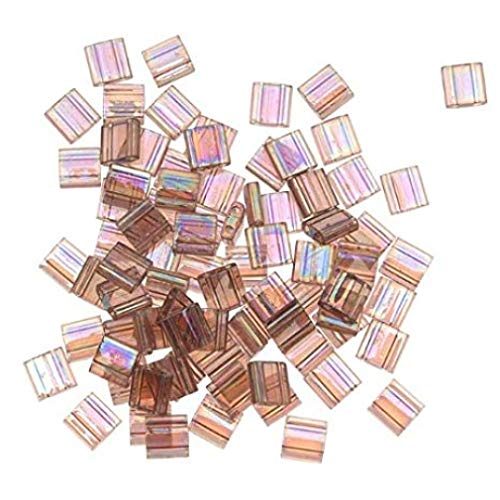 Amethyst Ab Transparent Matte Tila Beads 7.2 Gram Tube By Miyuki Are a 2 Hole Flat Square Seed Bead 5x5mm 1.9mm Thick with .8mm Holes
