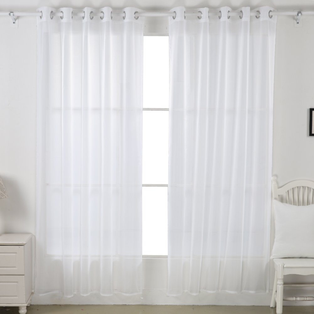 Deconovo Home Decorations Sheer White Curtains Grommet Curtains