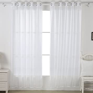 Deconovo Home Decorations Sheer White Curtains Grommet Curtains Voile  Curtains Delicate Sheer Curtains For Living Room