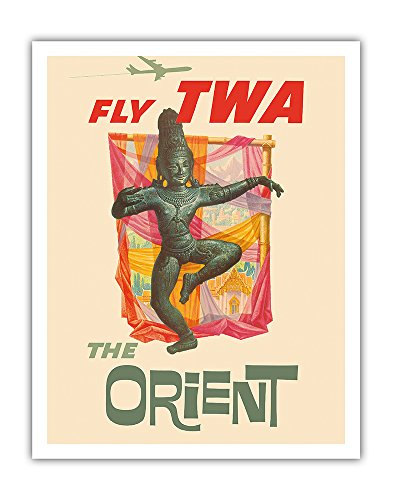 Pacifica Island Art The Orient - Fly TWA (Trans World Airlines) - Bronze-era Siam Thai Dancer - Vintage Airline Travel Poster by David Kleinc.1960 - Fine Art Print - 11in x 14in by Pacifica Island Art